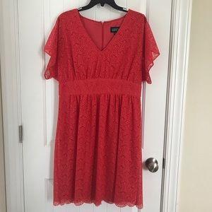 Bright coral lace dress